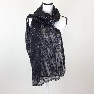 Cejon Scarf Black Sequin Patterned